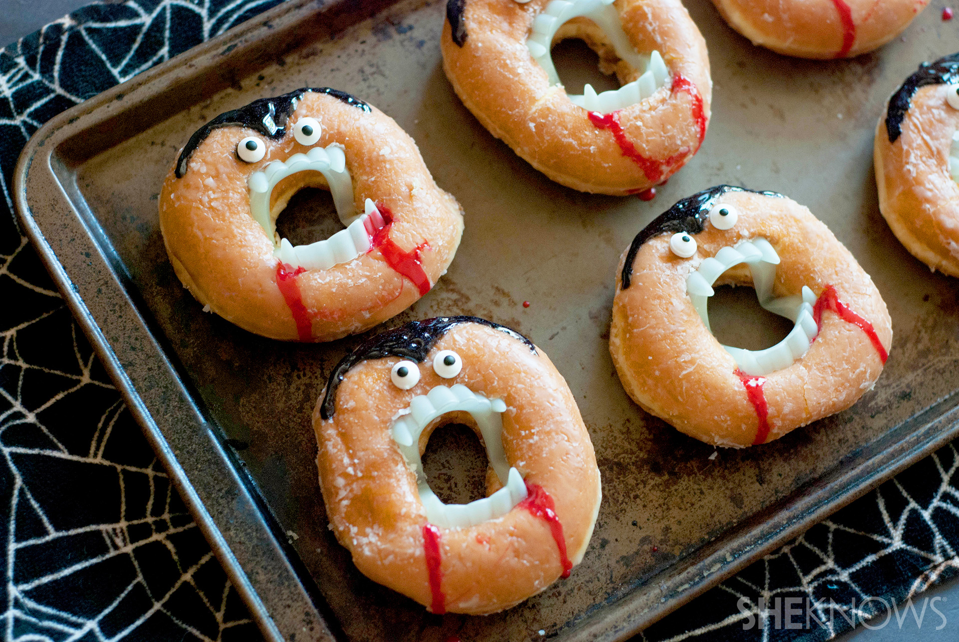 Turn doughnuts into a creepy, no-bake vampire treat