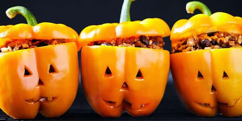 Recipe: Jack-O-Lantern Stuffed Peppers