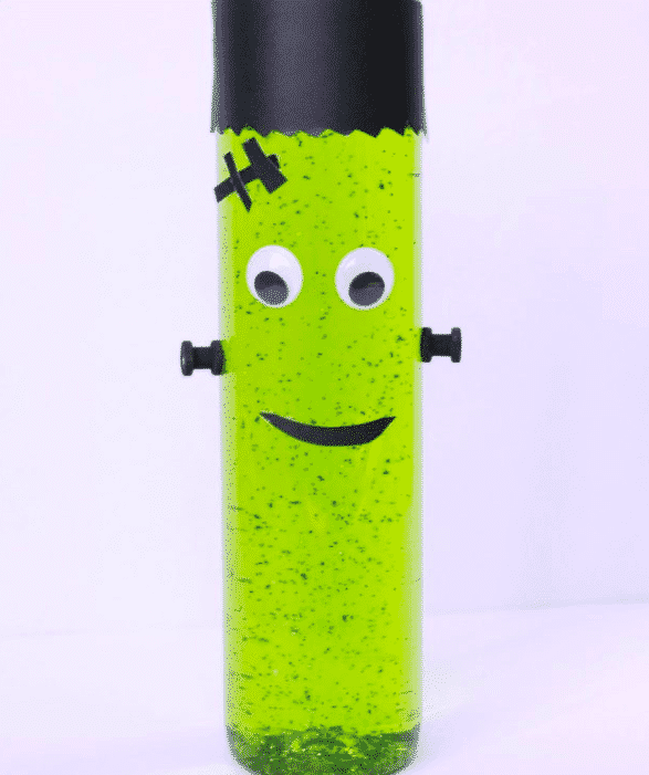 This Frankenstein sensory bottle will thrill kids for hours. The peace and quiet will be amazing, but more awesome is that everything needed to put this green guy together (glitter, corn syrup, food coloring, construction paper, glue, an empty plastic bottle) is probably already in the house.