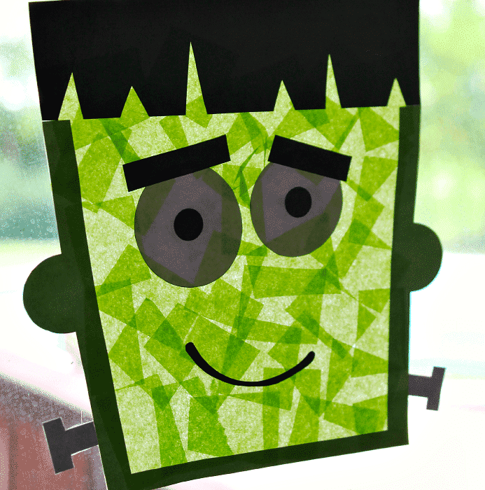 Kids will love adding tissue paper to sticky contact paper to create this playful Frankenstein sun catcher that can great guests in the window all season long.
