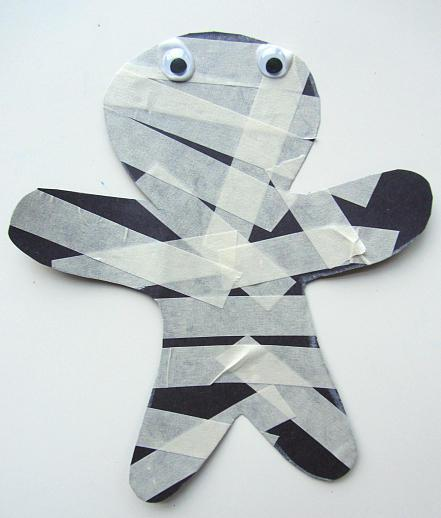 This spooky masking tape mummy is a great Halloween craft to keep kids busy and happy while dinner's being prepped or there's an important phone call to be made.