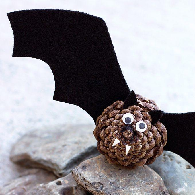 Raid the backyard for some pine cones and grab some felt and googly eyes to help the kids make this precious pine cone bat that will happily hang out until Halloween, even if the kids beg to keep him until Christmas. It's cute, so let's be honest, it's not going anywhere.