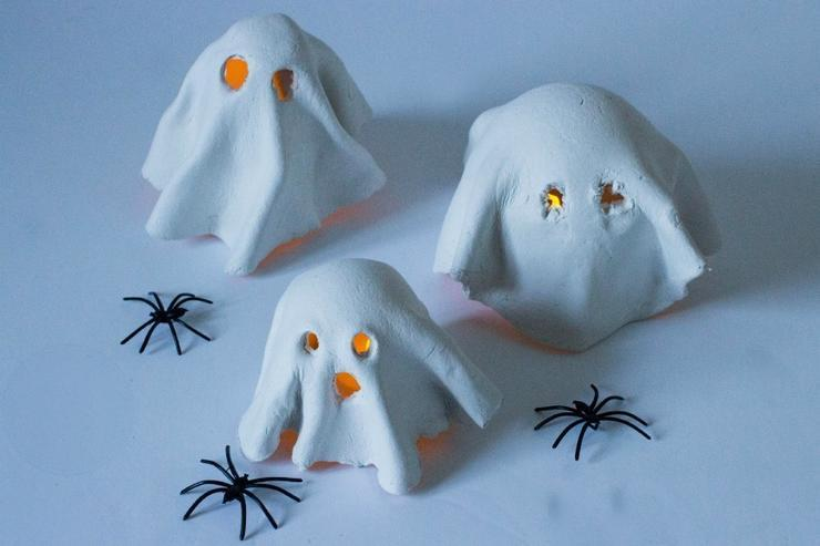 tealight clay ghosts MumInTheMadHouse/Pinterest Want a spooky nightlight the kids will adore? Grab some air-drying clay and battery-operated tealights to make these clay tealight ghosts that can watch over the mantle or make finding the bathroom at night a little easier. (If only it could help the boys aim...)